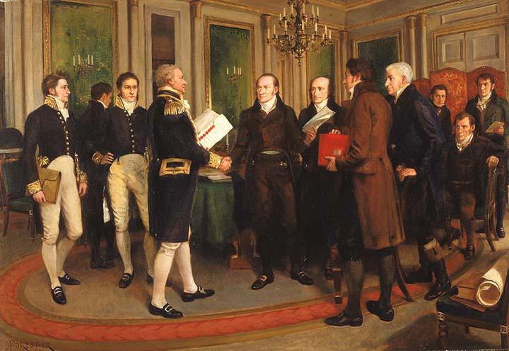 """The Signing of the Treaty of Ghent, Christmas Eve, 1814"" by Amédée Forestier (c. 1915)"