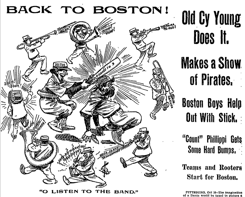 O [Say Can You] Listen to the Band? — Graphic from front page of Oct. 11, 1903 Boston Globe newspaper announcing the team's victory and celebrating the role of the band and its music in their success.